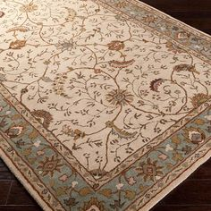 World Menagerie Topaz Olive Gray Floral Area Rug Rug Size: Oval 8' x 10'