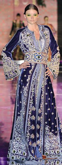 Caftan with regal embroidery.
