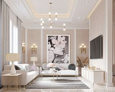 PASTEL on Behance Pastel Living Room, Glam Living Room, Living Room Decor Cozy, Elegant Living Room, Classic Living Room, Home Design Living Room, Interior Design Living Room, Luxury Interior Design, Luxury Dining Room