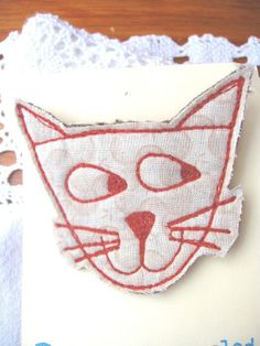 recycled cheeky cat brooch £6.00