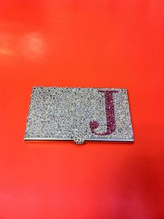 Personalized business card holder monogrammed with your name or initial luxury crystals business card holder personalize card holder rhinestone business card holder colourmoves Image collections