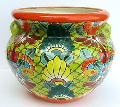"Mexican Talavera Pottery ""Bean Pot"" Planter Flower Pot | eBay"