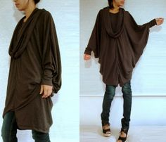 Boho Oversized Womens Brown Blouse / Brown Tunic / Oversized Tunic / Extra Large long sleeve Poncho tunic dress with scarf, Chocolate brown. $50.00, via Etsy.