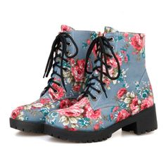28.17$  Watch now - http://ai2mf.worlditems.win/all/product.php?id=32703809228 - 2016  round toe lace up flower printing mid calf boots woman square heels women shoes platform winter autumn short boots