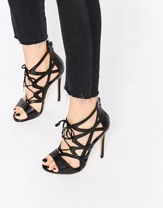 Image 1 ofWindsor Smith Church Black Strappy Lace Up Heeled Sandals