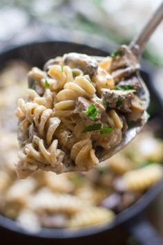 A savory mix of sauteed cremini mushrooms, fresh herbs and luscious cashew cream is tossed with noodles to create this comforting vegan mushroom stroganoff.
