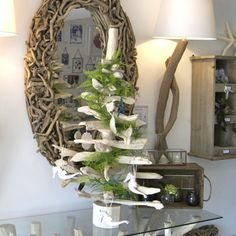 3ft Bleached Driftwood Tree displayed on table top http://www.dorisbrixham.co.uk/driftwood-trees.html