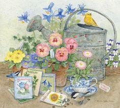 Gardener's Corner by Bonnie Heppe Fisher (1112×1000) birds, flowers, seeds, watering can