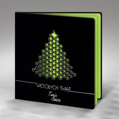 "The Christmas card is made of high quality black mat paper. The black mat cover has laser cut modern Christmas tree. There are hot stamp silver foil decorative elements and inscription ""Merry Christmas"" on the cover. The insert is metallic green and gives a background for the Christmas tree. The envelope is included."
