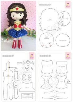 - Oh My Fiesta! for Geeks Felt Doll Patterns, Stuffed Toys Patterns, Felt Diy, Felt Crafts, Fabric Dolls, Paper Dolls, Wonder Woman, Lol Dolls, Sewing Toys