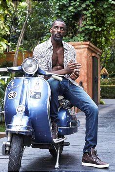 Idris Elba on a Vespa Idris Elba, Gorgeous Black Men, Handsome Black Men, Beautiful Men, Black Man, Lambretta, Actrices Hollywood, Raining Men, George Michael
