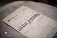 Creative gray & pink printed wedding programs with silhouettes of wedding party | Lasting Images Photography | villasiena.cc