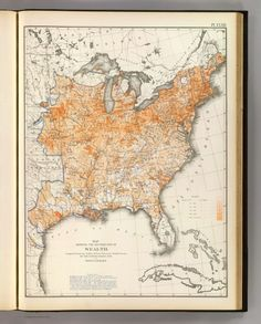 This map depicts the distribution of wealth in the U.S. in 1870. Not surprisingly, most of the money was in the long-urbanized Northeast, but Texas and Iowa had pockets, as well.