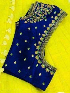 (via Navya Gogineni, Blouse designs) Wedding Saree Blouse Designs, Pattu Saree Blouse Designs, Simple Blouse Designs, Stylish Blouse Design, Fancy Blouse Designs, Blouse Neck Designs, Wedding Blouses, Hand Work Blouse Design, Designer Blouse Patterns