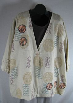 Vantage Jacket Cream Flax Linen w/ Art Nouveau - love this and wish it were in a smaller size