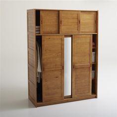 Armoire 3 portes, lingère penderie, miroir, H207 cm, pin massif, Soninke La Redoute Interieurs (Bois clair miel)