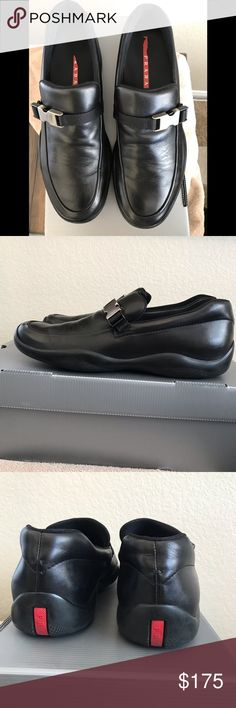 b7ca33d92a1 PRADA Loafer PRADA slip on Loafer with silver buckle Size 9.5 Brand New  Excellent Condition Smoke