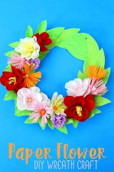 Paper Flower Wreath with a Paper Plate Flower Activities For Kids, Activities To Do With Toddlers, Art Activities, Activity Ideas, Wreath Crafts, Diy Wreath, Paper Crafts, Paper Flower Wreaths, Paper Flowers