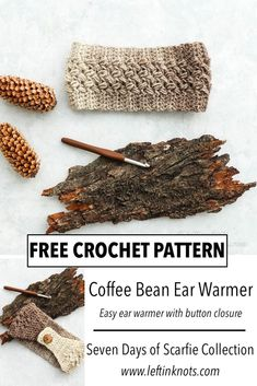 Crochet Coffee Bean Ear Warmer - Free Pattern The bean stitch and Scarfie yarn are such a perfect combination, and these easy ear warmers are so fast to make I bet ca. Crochet Ear Warmer Pattern, One Skein Crochet, Crochet Headband Pattern, Crochet Scarves, Crochet Clothes, Free Crochet, Crochet Hats, Crochet Headbands, Knit Headband