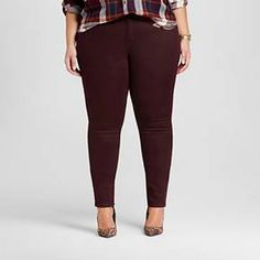 Women's Plus Size Skinny Jeans Burgundy - Ava and Viv ™ : Target