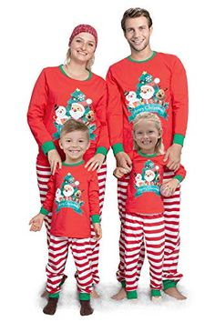 SUNFEID Family Matching Pajamas Christmas Pjs Set Cotton Xmas Jammies,Holiday Sleepwear for Adult Kids,Kids 5-6