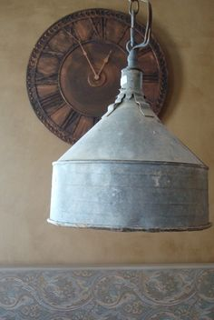 FARM fresh-galvanized funnel, upcycled into a hanging light