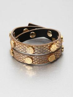 Tory Burch Leather Wrap Bracelet   Tory Burch Python Embossed Leather Wrap Bracelet in Gold - Lyst