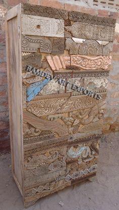 Indian Rustic Carving Blocks Almirah