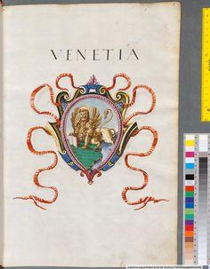 Insignia Veneta, Mantuana, Bononiensia, Anconitana, Urbinatia, Perugiensia München, Alte Hofbibliothek – 274 Bl – Italian, 1550-1555, http://opacplus.bsb-muenchen.de/search?oclcno=165874308 View the whole book here: http://daten.digitale-sammlungen.de/~db/bsb00001421/image_1