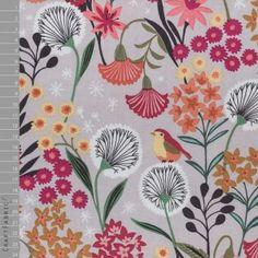 Dashwood Studio - Bawełna - Suffolk Garden Dmuchawce i ptaki