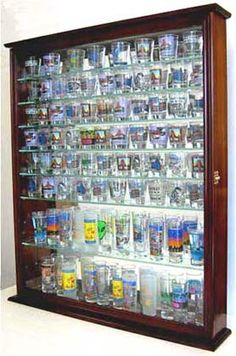 Shot Glass Display Case with shelves