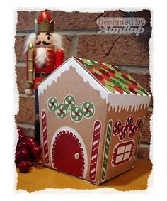 Gingerbread house box.  Free file included and great directions.