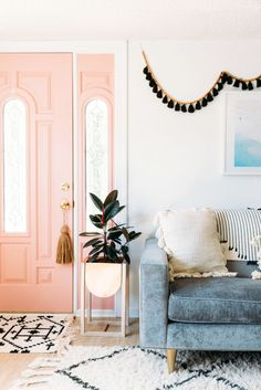 black tassel garland + pink front door