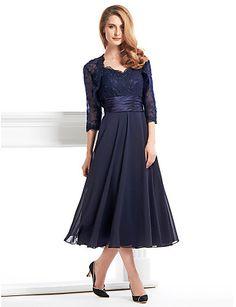 Lanting una línea madre del vestido de la novia - azul marino oscuro té de longitud de 3/4 de longitud gasa de la manga / cordón 2016 - $109.99
