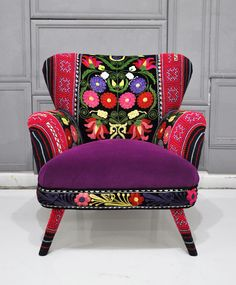 Patchwork armchair with Suzani, Thai Hmong and velvet fabrics - Spring. $1,500.00, via Etsy.