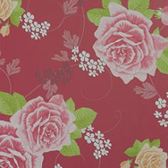 Behang rood met roze rozen