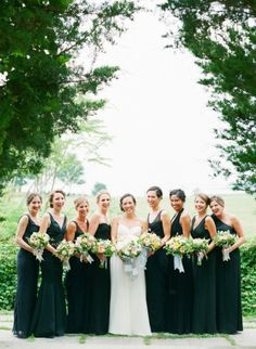 Black bridesmaids dresses   Black and White Wedding Inspiration