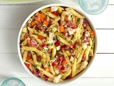 Italian-Deli Pasta Salad:  Cook 1 pound penne; drain and rinse.  Mix 1/3 cup mayonnaise and 3 tbsps. each of olive oil and red wine vinegar.  Toss with the pasta one 16-ounce jar giardiniera (drained and chopped), 1 cup each of diced provolone and salami, and 1/4 cup each of chopped parsley and basil; season with salt and pepper.