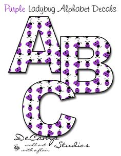 Purple Alphabet Letters | Purple Ladybug Alphabet Letter Wall Decals  Personalize Girl Name
