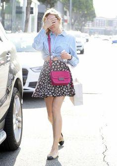 Diane Kruger - west hollywood floral skirt denim shirt pink little bag flats