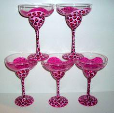 MADE TO ORDER  Painted Margarita Glasses by SharonsCustomArtwork, $80.00