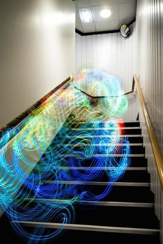 """""""""""Digital Ethereal"""" is a project by designer Luis Hernan that used long-exposure photography to create fascinating visualizations of Wi-Fi signals. Hernan visualized the signals with his Android app Kirlian Device mobile, which displays Wi-Fi signal strength with an array of colors."""""""