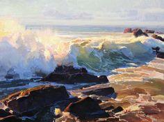 Calvin Liang, Incoming Tide, Cambria, oil, 12 x 16.