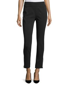 Neiman Marcus Pull-On Zip-Cuff Pants, Black