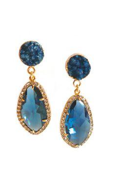 Saphire druzy earrings