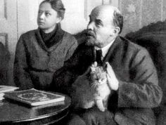 Lenin and his cat. 1920s