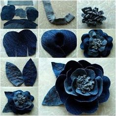 DIY Pretty Rose Flower from Old Jeans diy flowers How to DIY Pretty Rose Flower from Old Jeans Jean Crafts, Denim Crafts, Upcycled Crafts, Repurposed, Denim Flowers, Felt Flowers, Fabric Flowers, Bouquet Flowers, Flower Jeans