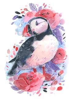 A sweet puffin print, how could you go wrong? This print is offered as a They are printed on Premium Matte Epson paper. A small subtle signature is added to the bottom right corner. They are also signed and dated on the back 🌸 Bird Drawings, Animal Drawings, Pretty Art, Cute Art, Watercolor Illustration, Watercolor Paintings, Animal Art Prints, Dibujos Cute, Animal Sketches