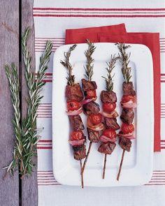 Rosemary skewers add a flavorful kick to grilled meat and veggie kebabs. Fruit Kebabs, Shish Kabobs, Meat Skewers, Steak Kabobs, Martha Stewart, Good Food, Yummy Food, Tasty, Grilled Meat