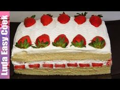 Клубничный ТОРТ со сгущенкой за 15 минут! Простой рецепт вкусного торта  Simple Strawberry Cake - YouTube